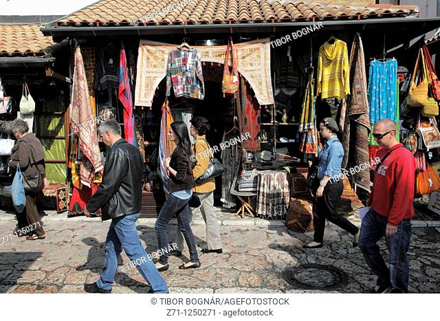 Bosnia and Herzegovina, Sarajevo, Bascarsija Quarter, handicraft shop, people