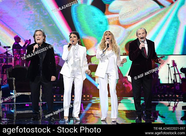Musical group Ricchi e Poveri: Angelo Sotgiu, Angela Brambati, Marina Occhiena, Franco Gatti . Special evening on Rai Uno Tv entitled 'Che Sara Sara'