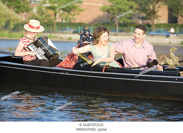 Mid adult couple travelling in a gondola