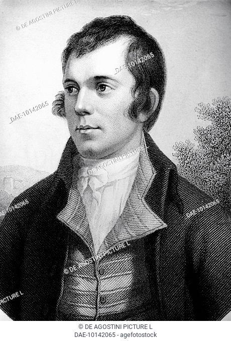 Portrait of Robert Burns (Alloway, 1759-Dumfries, 1796), Scottish poet and composer. Engraving