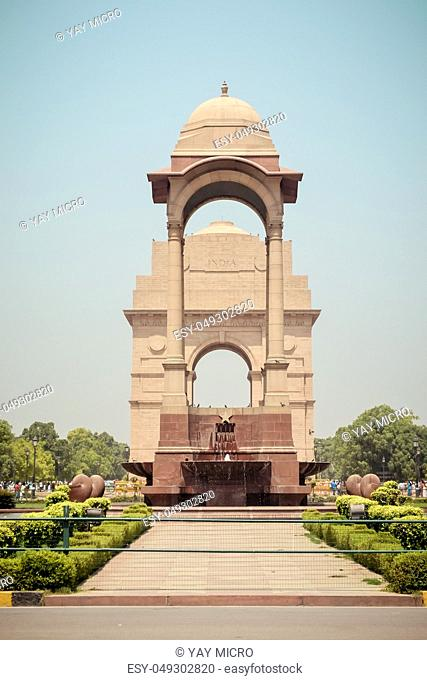 Rajpath, Raisina Hill, New Delhi, India January 2019: The Canopy lies 150 meters from the India Gate. The vacant canopy, constructed in red sandstone