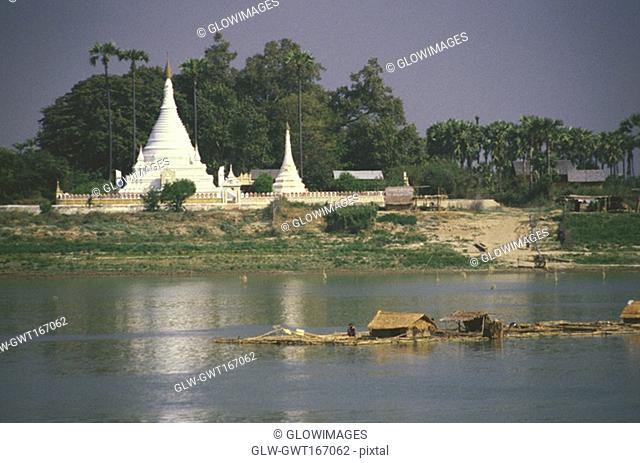 Pagoda along a river, Ayeyarwady river, Myanmar