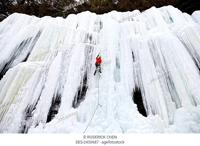 Ice climbing, Lake Willoughby; Vermont, United States of America