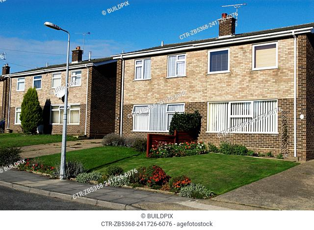 1970s semi-detached houses, London suburb, UK