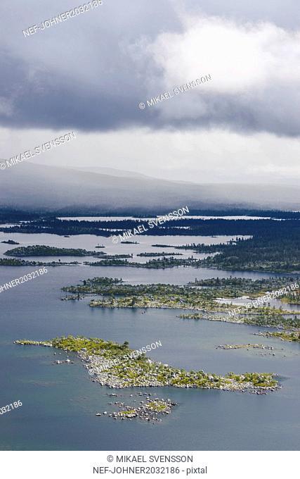 High angle view of wetland