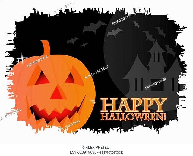 Happy halloween card with a pumpkin over a black background with vampires