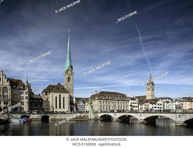central zurich city old town and limmat river landmark view in switzerland