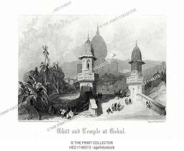 'Ghat and Temple at Gokul', India, c1838
