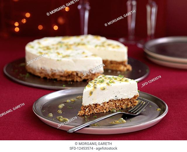 Lime Passion Fruit Coconut Cheesecake