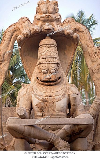 Hindu god Narasimha Vigraha Hampi, Karnataka, India, Asia