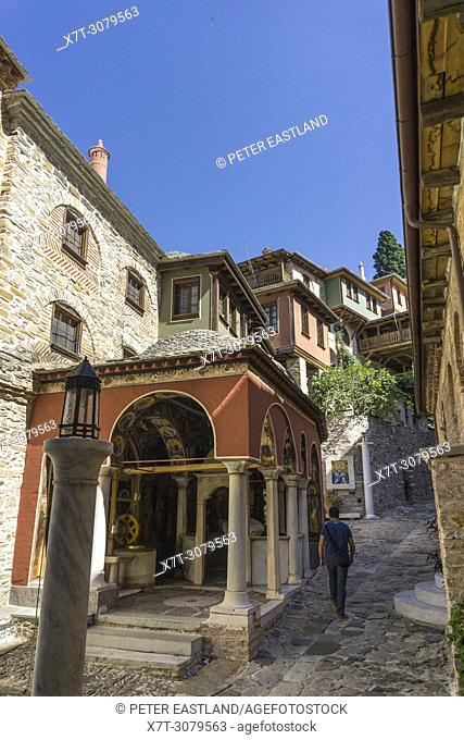The inner courtyard at Docheiariou monastery looking up to the main tower, on the Athos peninsula, Macedonia, Northern Greece