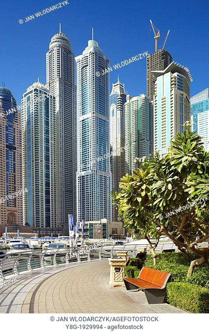 Dubai Marina, view to Princess Tower, the highiest residential building in the world, Dubai, United Arab Emirates