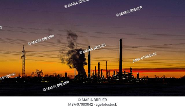 Refinery, sunset, Ingolstadt, Bavaria Germany