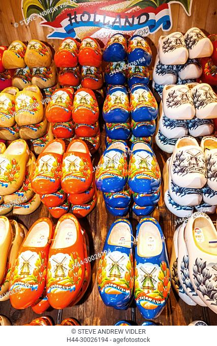 Europe, Netherlands, Amsterdam, Souvenir Shop Display of Colourful Wooden Clogs