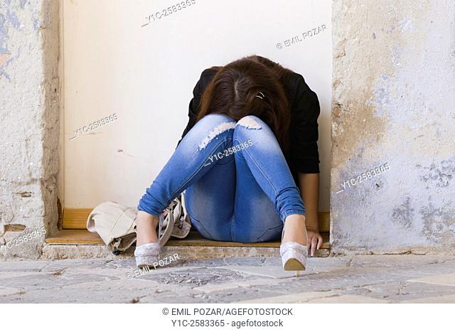 Female teenager is depressed