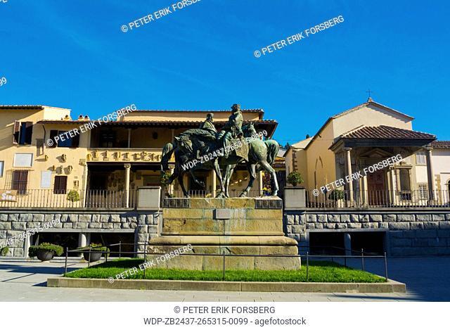 Incontro di Teano, the Handshake of Teano sculpture and Sala del Basolato, town hall, Piazza Mino, Fiesole, near Florence, Tuscany, Italy