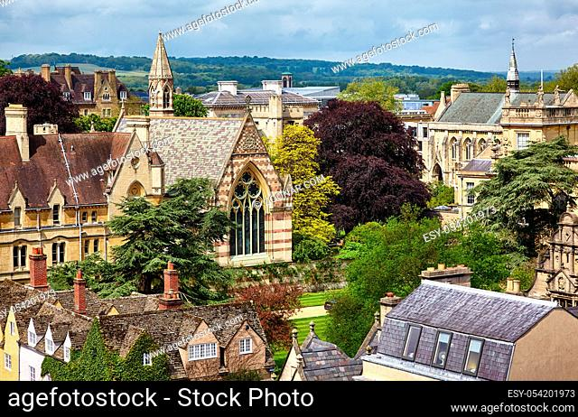 Views to the central of university city with the chapels of Balliol College (William Butterfield's chapel ) and St John's College from the cupola of Sheldonian...