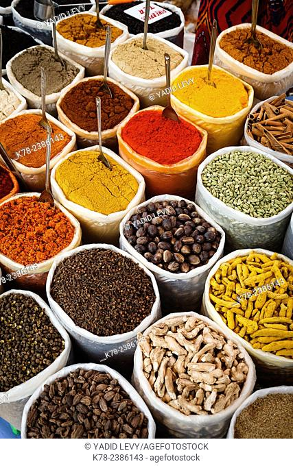 Spice stall at Mapusa Market, Goa, India