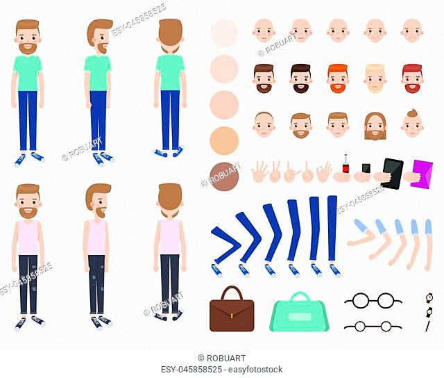Character constructor male, person and set of faces skin color, bags and watch, collection character constructor vector illustration isolated on white