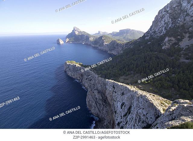 The Cap Formentor cape in the North east of Majorca island Balearics Spain