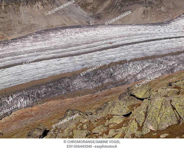 Ice stream of the Aletsch Glacier in Valais