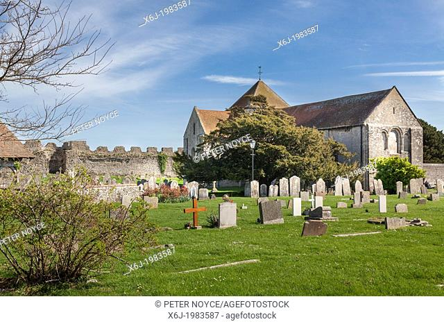 St Mary's church and churchyard within the old roman fort of Portchester Castle