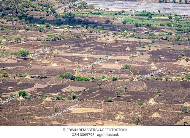 Field spaces for farming near Debre Berhan, Ethiopia