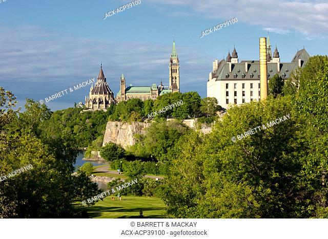 View of Parliament Buildings from Ottawa River Parkway Bridge, Ottawa, Ontario, Canada