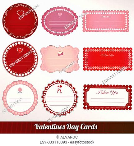 Vector set of card valentine's day vintage