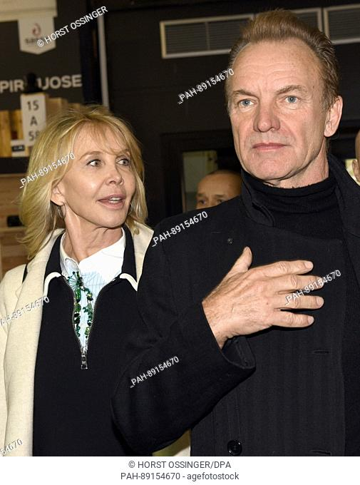 The British rock star Sting and his wife Trudie Styler at the 'ProWein' trade fair in Duesseldorf, Germany, 19 March 2017