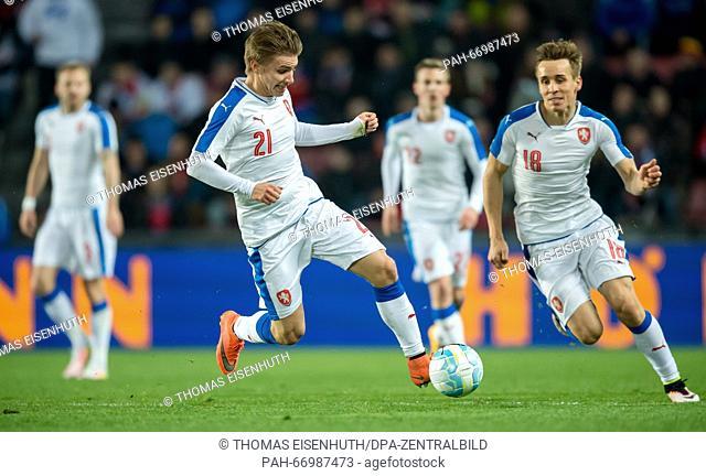 Martin Frydek, with Josef Sural behind (both Czech Republic) during the test match between the Czech Republic and Scotland at Letna Stadium in Prague