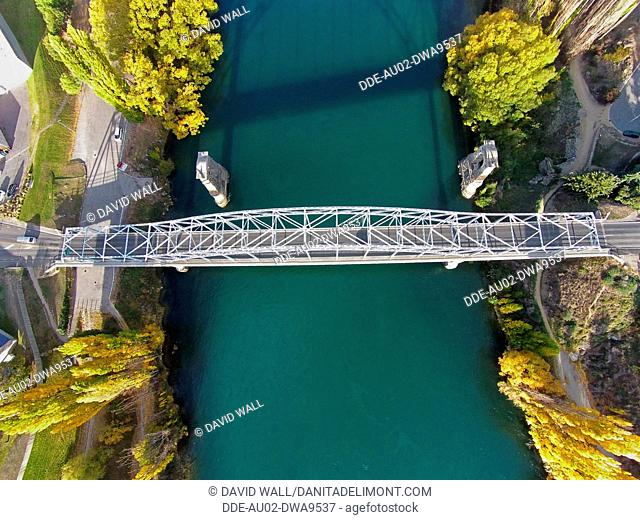 Alexandra Bridge and Clutha River in autumn, Central Otago, South Island, New Zealand, drone aerial