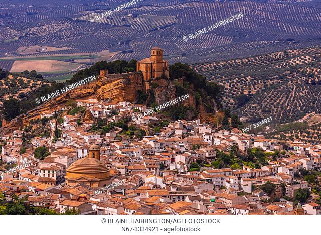 High angle view of the hill top town of Montefrio, Granada Province, Andalusia, Spain. Montefrio was called one of the top ten towns with the best views in the...