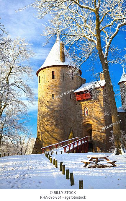 Castell Coch in snow, Tongwynlais, Cardiff, South Wales, Wales, United Kingdom, Europe