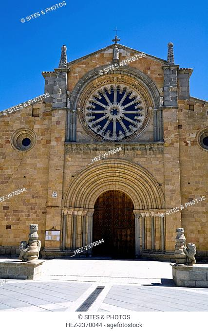 San Pedro Church, Avila, Spain, 2007. This Romanesque structure is crowned by a fine Cistercian Gothic rose window. The aisled church with a plain but...