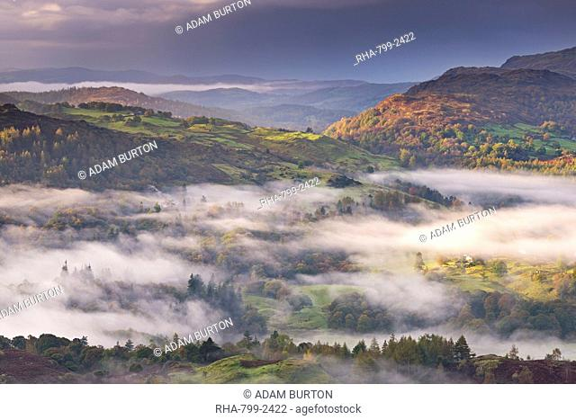 Mist covered fells in autumn, Lake District National Park, Cumbria, England, United Kingdom, Europe