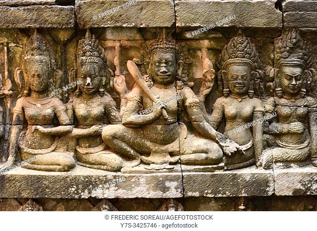 Ancient stone carvings at Terrace of the Leper King in Angkor Thom, Siem Reap, Cambodia, South Esat Asia