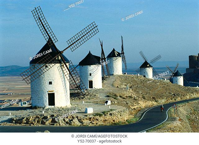 Windmills on Cerro Calderico, Consuegra. Toledo province, Castilla-La Mancha. Spain
