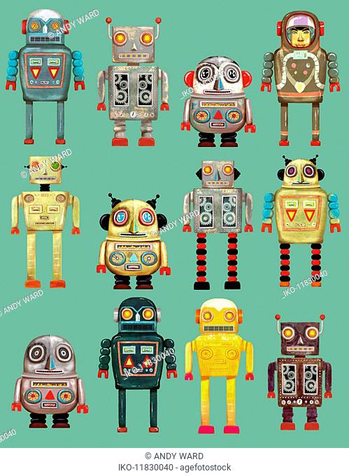 Variety of robots in a row