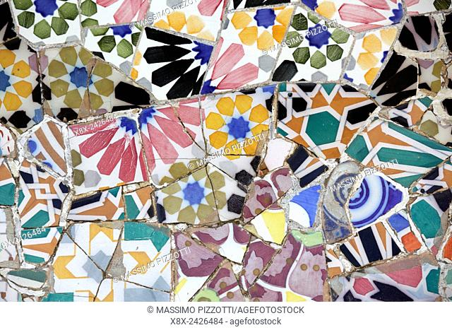 Close up of mosaics in the Terrace, Park Güell, Barcelona, Spain