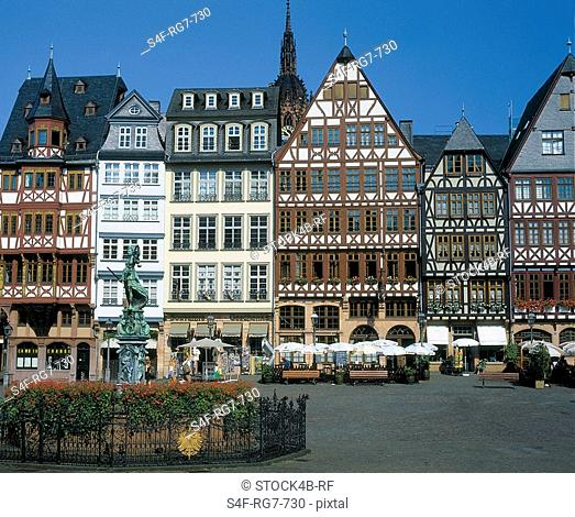 Timber-framed houses at the Roemer, Frankfurt am Main, Hesse, Germany