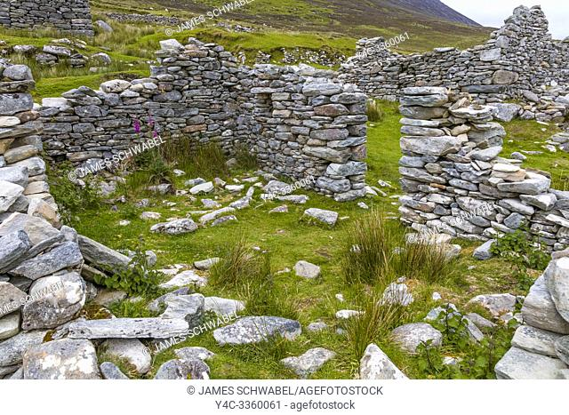 Ruins of the deserted Village at Slievemore on Achill Island in County Mayo Ireland