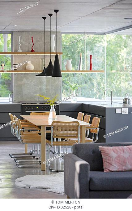 Modern home showcase interior kitchen and dining table