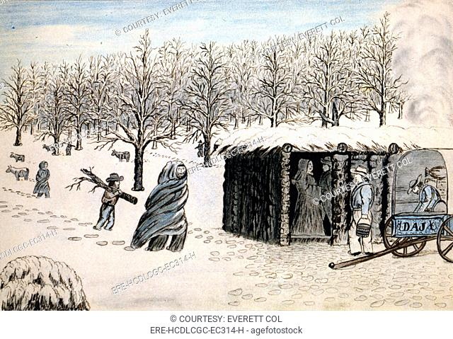 Wagon Train to the West. A wagon train of settlers camped in the snow. Daniel Jenks, color drawing, 1859
