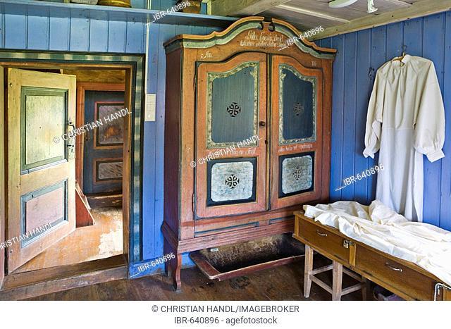 Farmhouse furnishings, Dåsethof living history museum, Norway, Scandinavia, Europe
