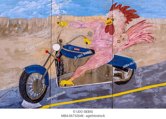 The USA, Nevada, Clark County, Overton, Red Rooster bar, wall picture, red cock on motorcycle