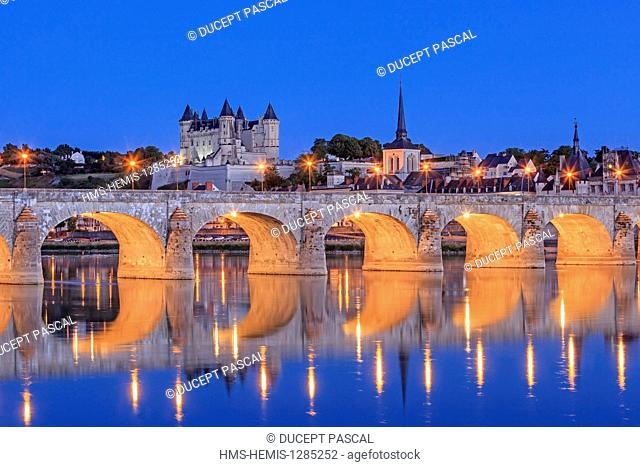France, Maine et Loire, Loire Valley listed as World Heritage by UNESCO, the castle of Saumur and the Loire river at night