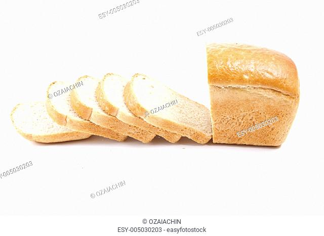 Sliced bread loaf on a white background