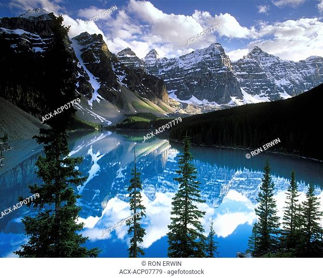 Clouds over Moraine lake and the Valley of the Ten Peaks, Banff National Park, Alberta, Canada