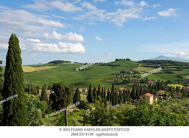 View from the medieval town of Monticchiello in the Val d'Orcia near Pienza in Tuscany, Italy